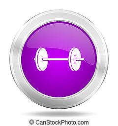 fitness round glossy pink silver metallic icon, modern design web element