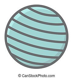 Fitness rubber ball filled outline icon, fitness and sport, gym ball sign vector graphics, a colorful line pattern on a white background, eps 10.
