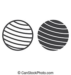 Fitness rubber ball line and glyph icon, fitness and sport, gym ball sign vector graphics, a linear pattern on a white background, eps 10.