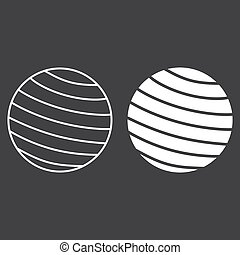 Fitness rubber ball line and glyph icon, fitness and sport, gym ball sign vector graphics, a linear pattern on a black background, eps 10.