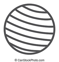 Fitness rubber ball line icon, fitness and sport, gym ball sign vector graphics, a linear pattern on a white background, eps 10.