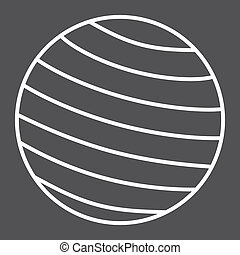 Fitness rubber ball line icon, fitness and sport, gym ball sign vector graphics, a linear pattern on a black background, eps 10.
