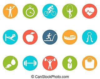 fitness, runda, knäppas, ikonen, sätta