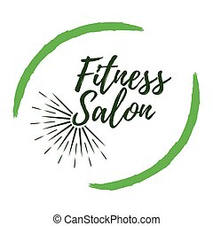 Fitness Salon label. Eco style and Wellness Life. Healthy Lifestyle badges. Vector illustration icon with Sunburst