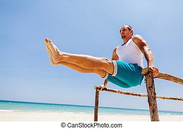 fitness, sandstrand, mann
