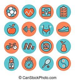 fitness, santé, icônes