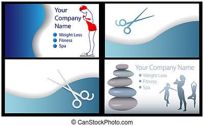 fitness, schönheit bad, salon, gewichtsverlust, geschäftskarte, 4