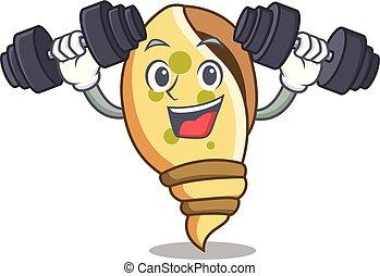 Fitness sea shell character cartoon