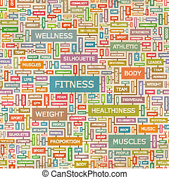 FITNESS. Seamless pattern. Concept related words in tag ...