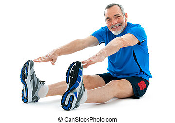 fitness - senior man doing warm-up exercises. Isolated on ...