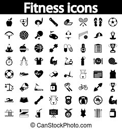 fitness, set, iconen