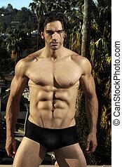 fitness, sexy, modèle, mâle, dehors