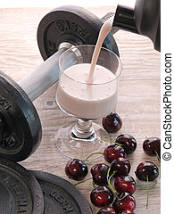 Fitness shake with dumbbells