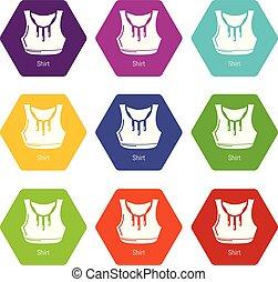 Fitness shirt women icons set 9 vector