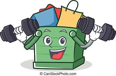 Fitness shopping basket character cartoon