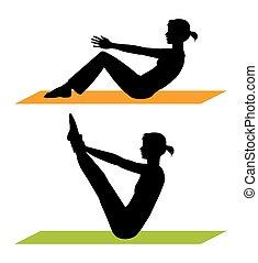 fitness, silhouetten