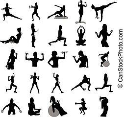 fitness, silhouetten, satz