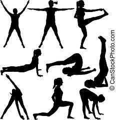 fitness, -, silhouetten