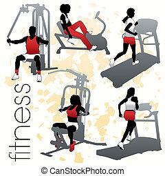 fitness, silhouettes, sätta