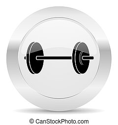 fitness silver glossy web icon