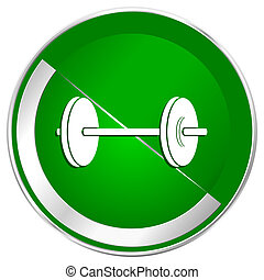 Fitness silver metallic border green web icon for mobile apps and internet.
