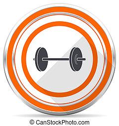 Fitness silver metallic chrome round web icon on white background with shadow