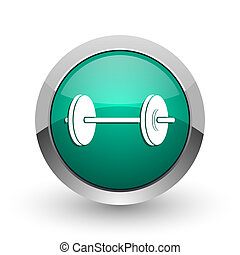 Fitness silver metallic chrome web design green round internet icon with shadow on white background.