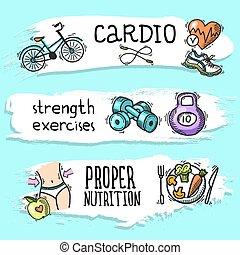 Fitness sketch banner set - Fitness cardio strength ...
