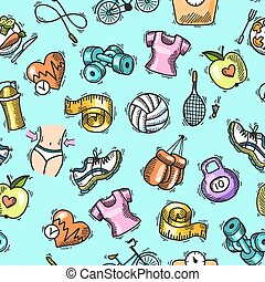 Fitness sketch colored seamless pattern