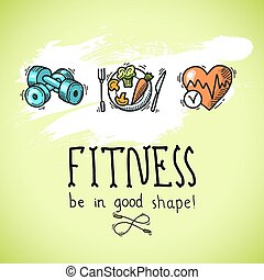 Fitness sketch poster - Fitness diet training sport exercise...
