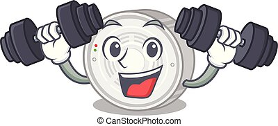 Fitness smoke detector attached the character wall vector...