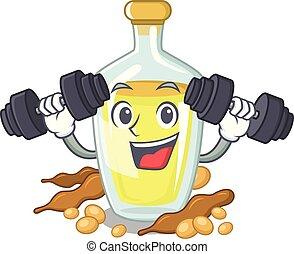 Fitness soybean oil put in cartoon bottle
