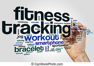 fitness, spårande, ord, moln, begrepp, på, grå, bakgrund