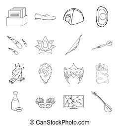 Fitness, space, Brazil and other web icon in outline style. Prehistoric, shopping, music icons in set collection.