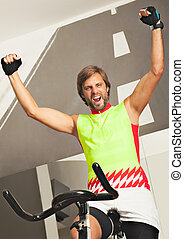 fitness spinning joy happy excited