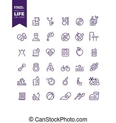 Fitness, sport, bodybuilding and healthy life outline web vector icons