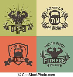 Fitness sport club vector vintage emblems