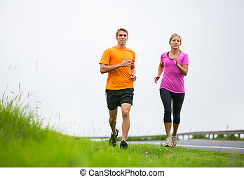 fitness, sport, couple, courant, jogging, dehors