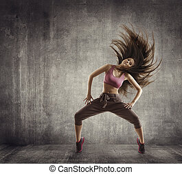 Fitness Sport Dance, Woman Dancer Flying Hair Dancing over Concrete