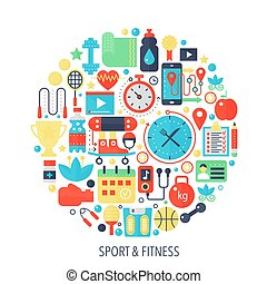 Fitness sport flat infographics icons in circle - color concept illustration for sport cover, emblem, template.