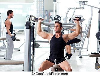 fitness, sport, gymnastiksal, folk grupp, utbildning