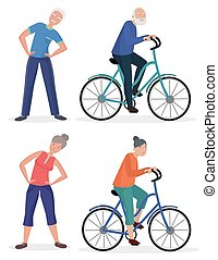 Fitness sport healthy old people grandparents couples set. Senior man and woman pedal bicycle.