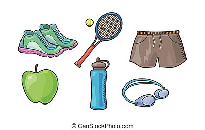 Fitness sport icons set, tennis racket, ball, sneakers, shorts, apple, bottle of water, vector Illustration on a white background