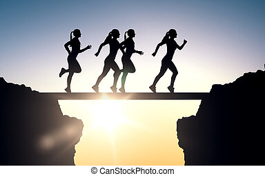 happy young sports woman running outdoors