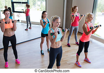 group of women exercising with dumbbells in gym