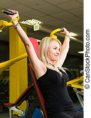 fitness, sport, powerlifting, och, folk, begrepp, -, ung kvinna, viktutbildning