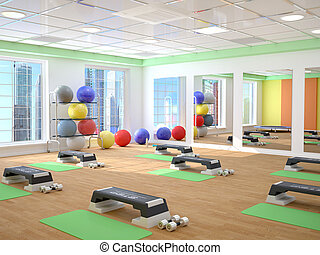 fitness, sport, training, gym and lifestyle concept. 3d...