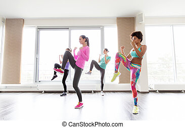 fitness, sport, training, people and martial arts concept - group of women working out fighting stance in gym