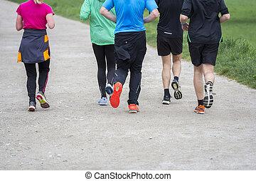 fitness, sportende, groep mensen, rennende , jogging, buiten, op, straat