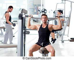 fitness, sportende, gym, groep mensen, opleiding